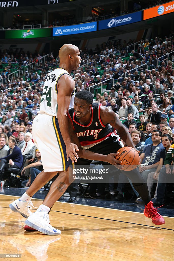 <a gi-track='captionPersonalityLinkClicked' href=/galleries/search?phrase=Wesley+Matthews+-+Basketball+Player&family=editorial&specificpeople=804816 ng-click='$event.stopPropagation()'>Wesley Matthews</a> #2 of the Portland Trail Blazers controls the ball against <a gi-track='captionPersonalityLinkClicked' href=/galleries/search?phrase=Richard+Jefferson&family=editorial&specificpeople=201688 ng-click='$event.stopPropagation()'>Richard Jefferson</a> #24 of the Utah Jazz at Energy Solutions Arena on October 16, 2013 in Salt Lake City, Utah.