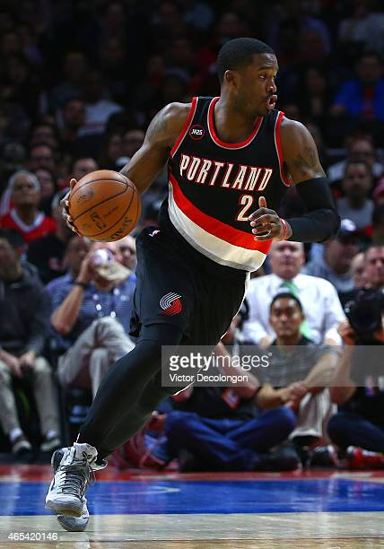 Wesley Matthews of the Portland Trail Blazers dribbles the ball on the fast break during the NBA game against the Los Angeles Clippers at Staples...