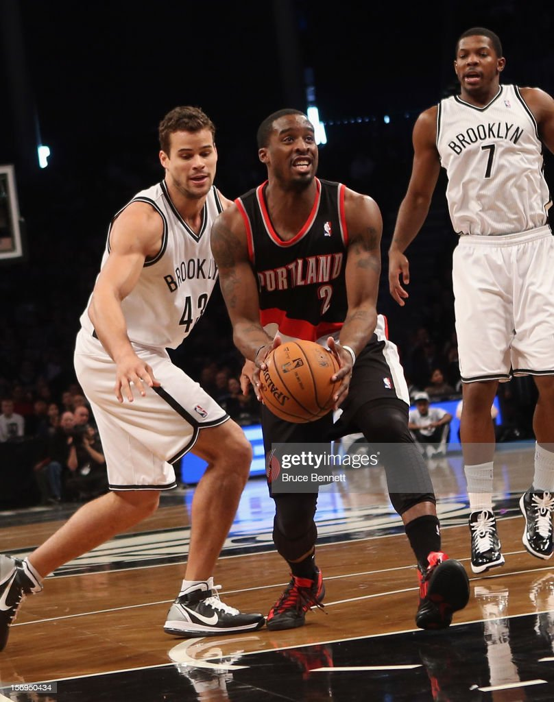 Wesley Matthews #2 of the Portland Trail Blazers dribbles the ball against the Brooklyn Nets at the Barclays Center on November 25, 2012 in the Brooklyn borough of New York City.