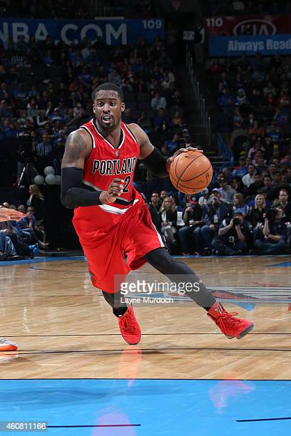 Wesley Matthews of the Portland Trail Blazers drives against the Oklahoma City Thunder on December 23 2014 at Chesapeake Energy Arena in Oklahoma...