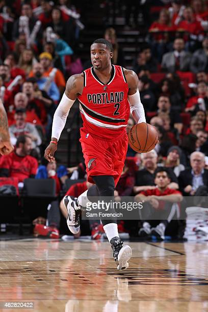 Wesley Matthews of the Portland Trail Blazers drives down the court against the Phoenix Suns during the game on February 5 2015 at the Moda Center...