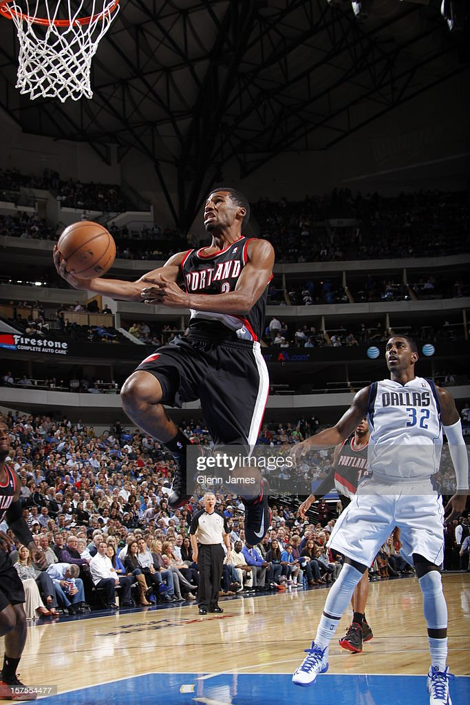 <a gi-track='captionPersonalityLinkClicked' href=/galleries/search?phrase=Wesley+Matthews&family=editorial&specificpeople=804816 ng-click='$event.stopPropagation()'>Wesley Matthews</a> #2 of the Portland Trail Blazers drives to the basket against the Dallas Mavericks on November 5, 2012 at the American Airlines Center in Dallas, Texas.