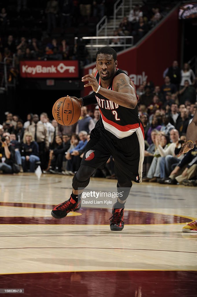 <a gi-track='captionPersonalityLinkClicked' href=/galleries/search?phrase=Wesley+Matthews&family=editorial&specificpeople=804816 ng-click='$event.stopPropagation()'>Wesley Matthews</a> #2 of the Portland Trail Blazers drives to the basket against the Cleveland Cavaliers at The Quicken Loans Arena on December 1, 2012 in Cleveland, Ohio.