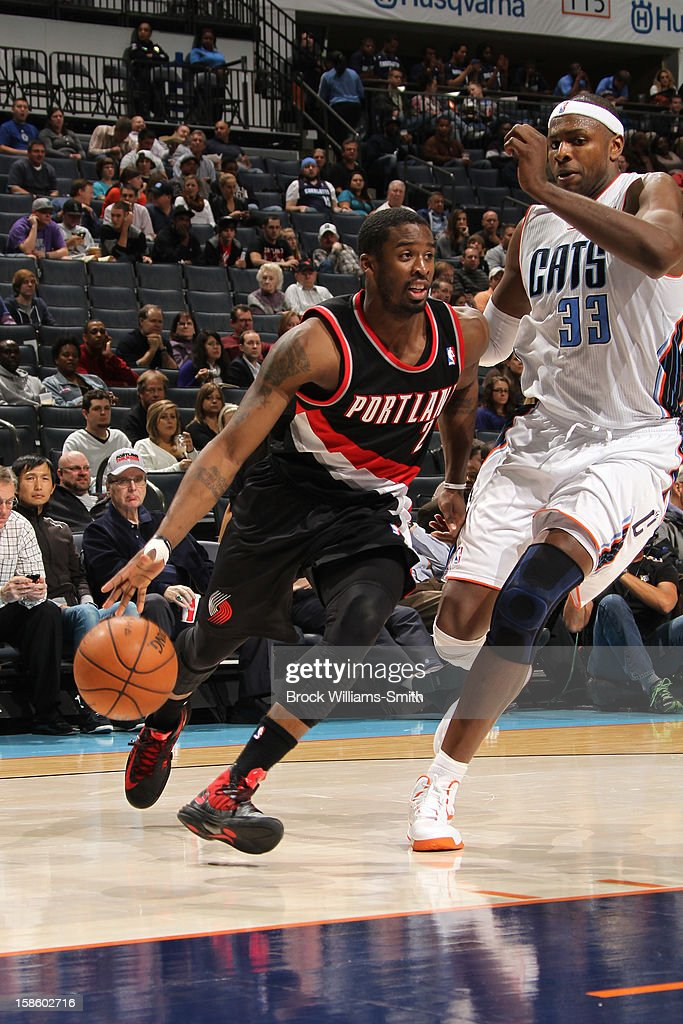 Wesley Matthews #2 of the Portland Trail Blazers drives to the basket against the Charlotte Bobcats at the Time Warner Cable Arena on December 3, 2012 in Charlotte, North Carolina.