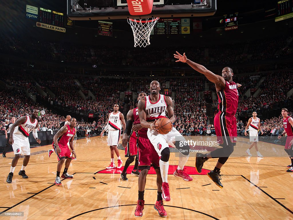 <a gi-track='captionPersonalityLinkClicked' href=/galleries/search?phrase=Wesley+Matthews&family=editorial&specificpeople=804816 ng-click='$event.stopPropagation()'>Wesley Matthews</a> #2 of the Portland Trail Blazers drives to the basket against the Miami Heat on January 10, 2013 at the Rose Garden Arena in Portland, Oregon.