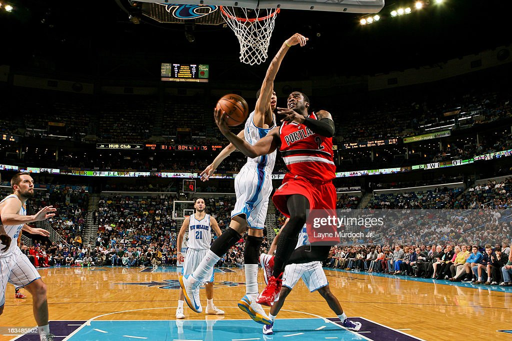 <a gi-track='captionPersonalityLinkClicked' href=/galleries/search?phrase=Wesley+Matthews&family=editorial&specificpeople=804816 ng-click='$event.stopPropagation()'>Wesley Matthews</a> #2 of the Portland Trail Blazers drives to the basket against Anthony Davis #23 of the New Orleans Hornets on March 10, 2013 at the New Orleans Arena in New Orleans, Louisiana.