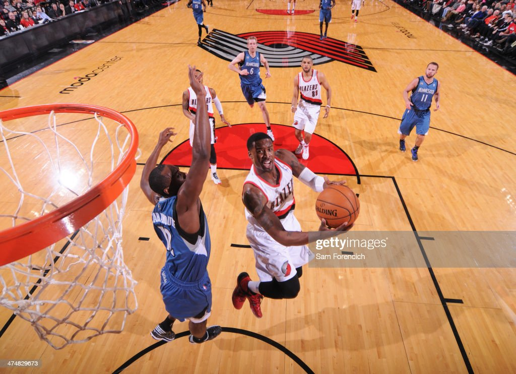 <a gi-track='captionPersonalityLinkClicked' href=/galleries/search?phrase=Wesley+Matthews&family=editorial&specificpeople=804816 ng-click='$event.stopPropagation()'>Wesley Matthews</a> #2 of the Portland Trail Blazers drives to the basket against the Minnesota Timberwolves on February 23, 2014 at the Moda Center Arena in Portland, Oregon.