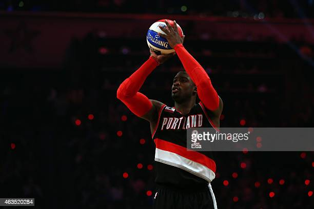 Wesley Matthews of the Portland Trail Blazers during the Foot Locker ThreePoint Contest as part of the 2015 NBA Allstar Weekend at Barclays Center on...