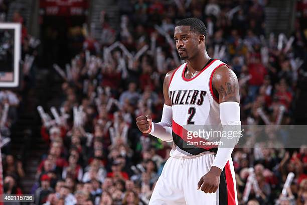 Wesley Matthews of the Portland Trail Blazers during the game against the Washington Wizards on January 24 2015 at the Moda Center in Portland Oregon...