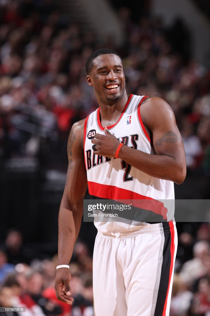 <a gi-track='captionPersonalityLinkClicked' href=/galleries/search?phrase=Wesley+Matthews&family=editorial&specificpeople=804816 ng-click='$event.stopPropagation()'>Wesley Matthews</a> #2 of the Portland Trail Blazers enjoys the game during a game against the Miami Heat on January 9, 2011 at the Rose Garden Arena in Portland, Oregon.