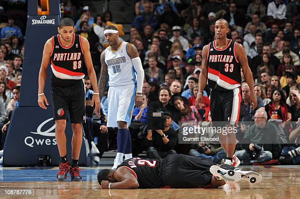Wesley Matthews of the Portland Trail Blazers goes down with an injury during the game against the Denver Nuggets on February 2 2011 at the Pepsi...