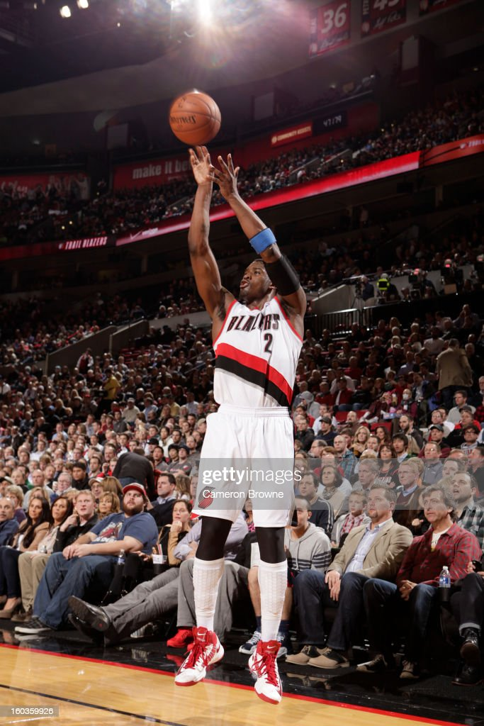 Wesley Matthews #2 of the Portland Trail Blazers goes for a jump shot during the game between the Dallas Mavericks and the Portland Trail Blazers on January 29, 2013 at the Rose Garden Arena in Portland, Oregon.
