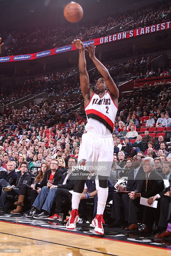 Wesley Matthews #2 of the Portland Trail Blazers goes for a jump shot during the game between the Detroit Pistons and the Portland Trail Blazers on March 16, 2013 at the Rose Garden Arena in Portland, Oregon.