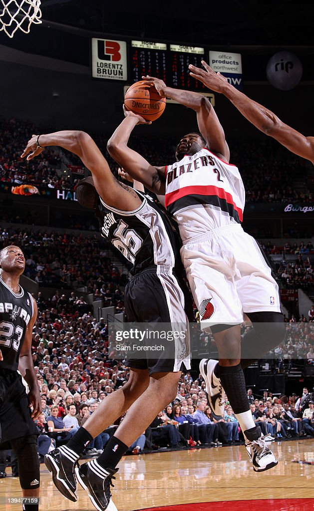 <a gi-track='captionPersonalityLinkClicked' href=/galleries/search?phrase=Wesley+Matthews&family=editorial&specificpeople=804816 ng-click='$event.stopPropagation()'>Wesley Matthews</a> #2 of the Portland Trail Blazers goes to the basket against James Anderson #25 of the San Antonio Spurs during the game on February 21, 2012 at the Rose Garden Arena in Portland, Oregon.