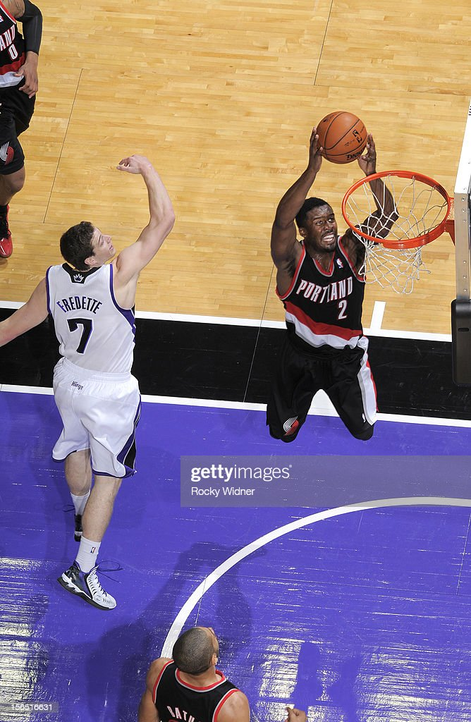 <a gi-track='captionPersonalityLinkClicked' href=/galleries/search?phrase=Wesley+Matthews&family=editorial&specificpeople=804816 ng-click='$event.stopPropagation()'>Wesley Matthews</a> #2 of the Portland Trail Blazers goes up for the dunk against the Sacramento Kings on November 13, 2012 at Sleep Train Arena in Sacramento, California.