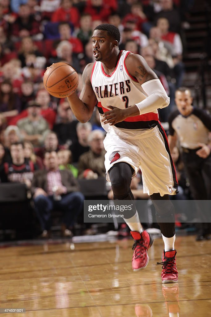 Wesley Matthews #2 of the Portland Trail Blazers handles the ball during a game against the Minnesota Timberwolves on February 23, 2014 at the Moda Center Arena in Portland, Oregon.