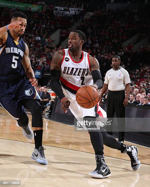 Wesley Matthews of the Portland Trail Blazers handles the ball against the Memphis Grizzlies on February 22 2015 at the Moda Center in Portland...