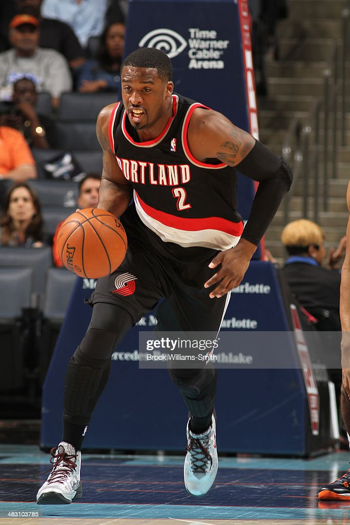 <a gi-track='captionPersonalityLinkClicked' href=/galleries/search?phrase=Wesley+Matthews&family=editorial&specificpeople=804816 ng-click='$event.stopPropagation()'>Wesley Matthews</a> #2 of the Portland Trail Blazers handles the ball against the Charlotte Bobcats during the game at the Time Warner Cable Arena on March 22, 2014 in Charlotte, North Carolina.