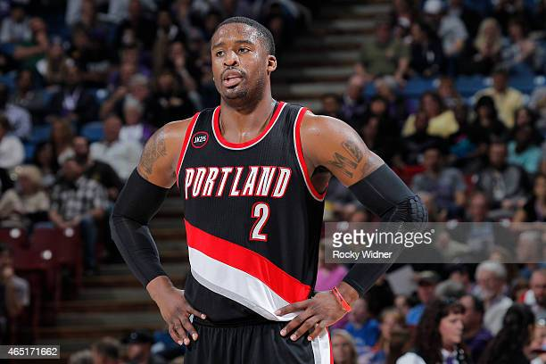Wesley Matthews of the Portland Trail Blazers looks on during the game against the Sacramento Kings on March 1 2015 at Sleep Train Arena in...