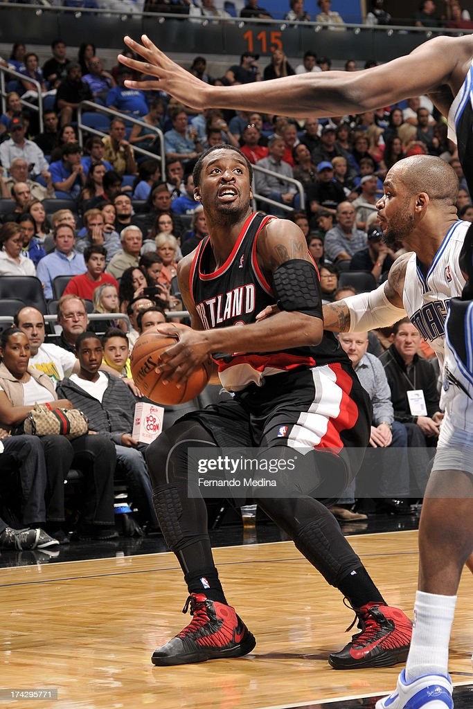 <a gi-track='captionPersonalityLinkClicked' href=/galleries/search?phrase=Wesley+Matthews&family=editorial&specificpeople=804816 ng-click='$event.stopPropagation()'>Wesley Matthews</a> #2 of the Portland Trail Blazers looks to pass against the Orlando Magic during the game on February 10, 2013 at Amway Center in Orlando, Florida.