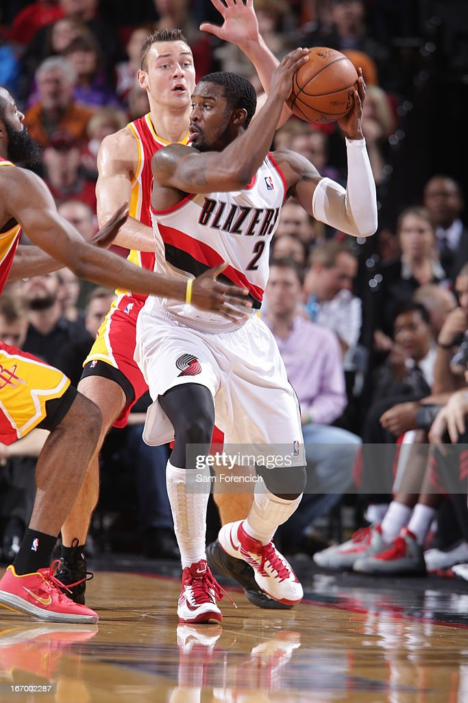 <a gi-track='captionPersonalityLinkClicked' href=/galleries/search?phrase=Wesley+Matthews&family=editorial&specificpeople=804816 ng-click='$event.stopPropagation()'>Wesley Matthews</a> #2 of the Portland Trail Blazers looks to pass the ball against the Houston Rockets on April 5, 2013 at the Rose Garden Arena in Portland, Oregon.