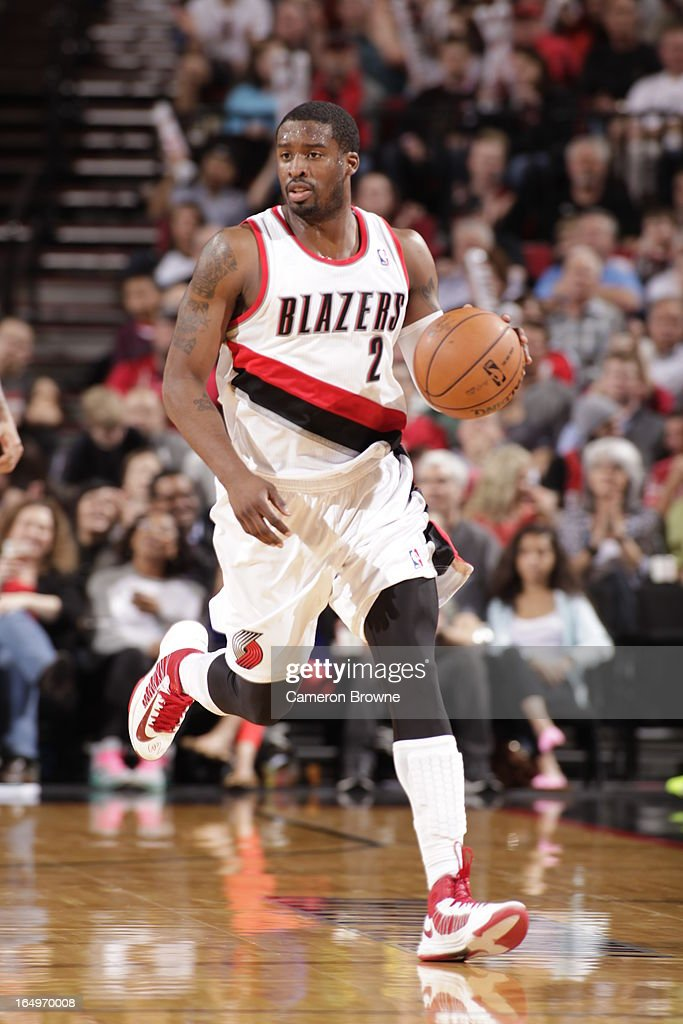 <a gi-track='captionPersonalityLinkClicked' href=/galleries/search?phrase=Wesley+Matthews&family=editorial&specificpeople=804816 ng-click='$event.stopPropagation()'>Wesley Matthews</a> #2 of the Portland Trail Blazers moves the ball up-court against the Utah Jazz on March 29, 2013 at the Rose Garden Arena in Portland, Oregon.