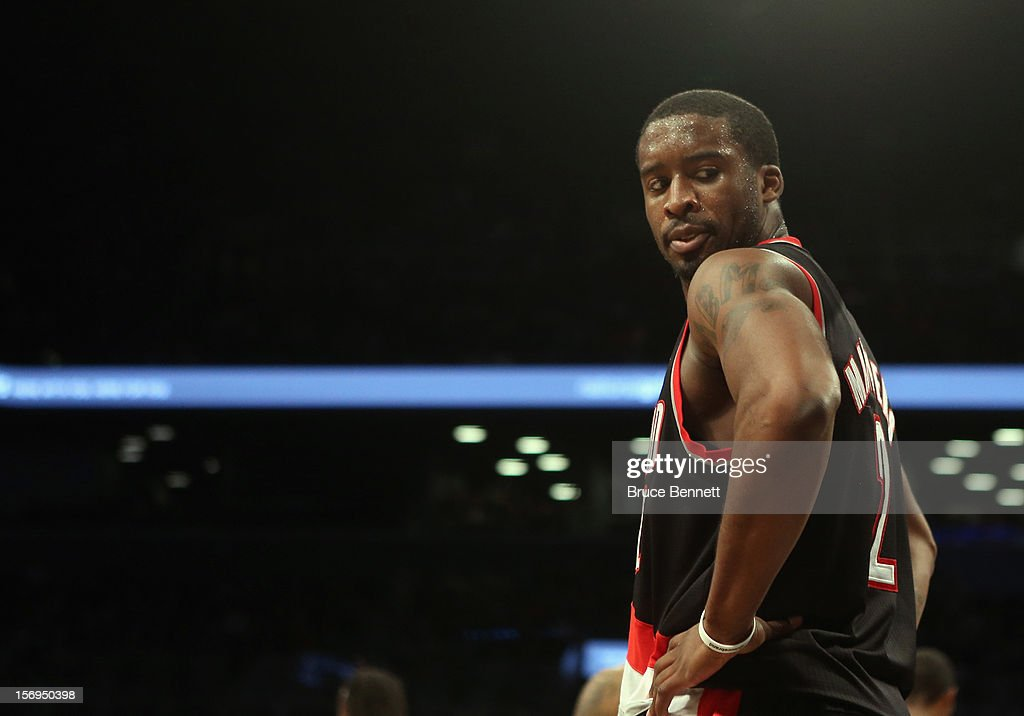 Wesley Matthews #2 of the Portland Trail Blazers plays against the Brooklyn Nets at the Barclays Center on November 25, 2012 in the Brooklyn borough of New York City.
