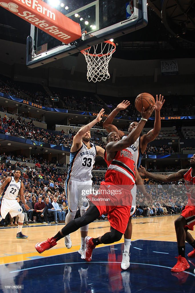 Wesley Matthews #2 of the Portland Trail Blazers puts up a shot against the Memphis Grizzlies on January 4, 2013 at FedExForum in Memphis, Tennessee.