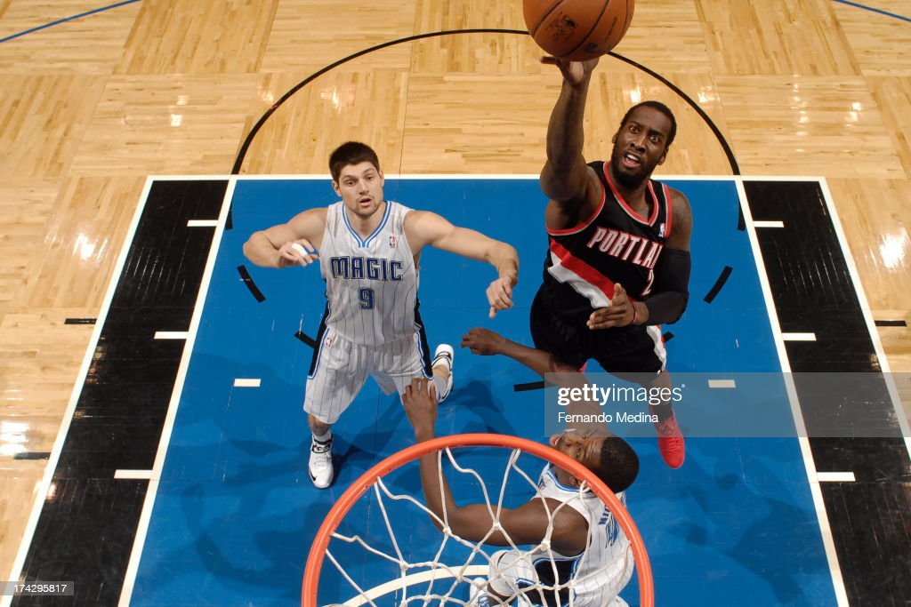 <a gi-track='captionPersonalityLinkClicked' href=/galleries/search?phrase=Wesley+Matthews&family=editorial&specificpeople=804816 ng-click='$event.stopPropagation()'>Wesley Matthews</a> #2 of the Portland Trail Blazers puts up a shot against the Orlando Magic during the game on February 10, 2013 at Amway Center in Orlando, Florida.