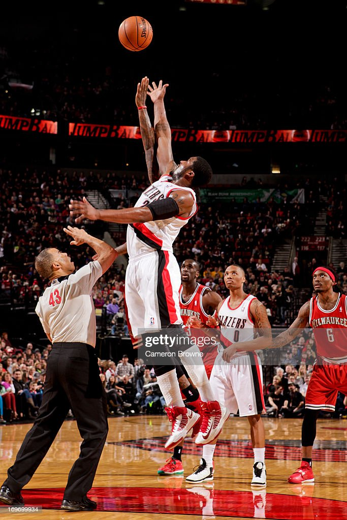 <a gi-track='captionPersonalityLinkClicked' href=/galleries/search?phrase=Wesley+Matthews&family=editorial&specificpeople=804816 ng-click='$event.stopPropagation()'>Wesley Matthews</a> #2 of the Portland Trail Blazers reaches for a jump-ball against the Milwaukee Bucks on January 19, 2013 at the Rose Garden Arena in Portland, Oregon.