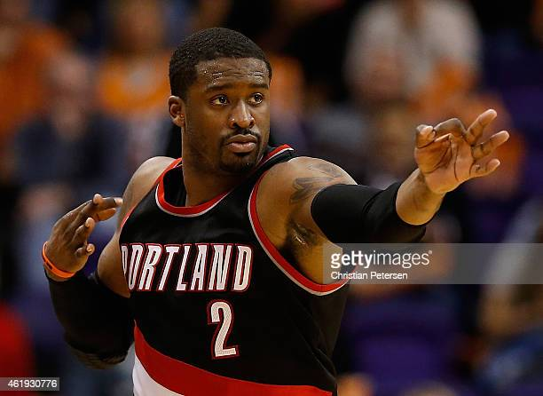 Wesley Matthews of the Portland Trail Blazers reacts after making a three point shot against the Phoenix Suns during the second half of the NBA game...