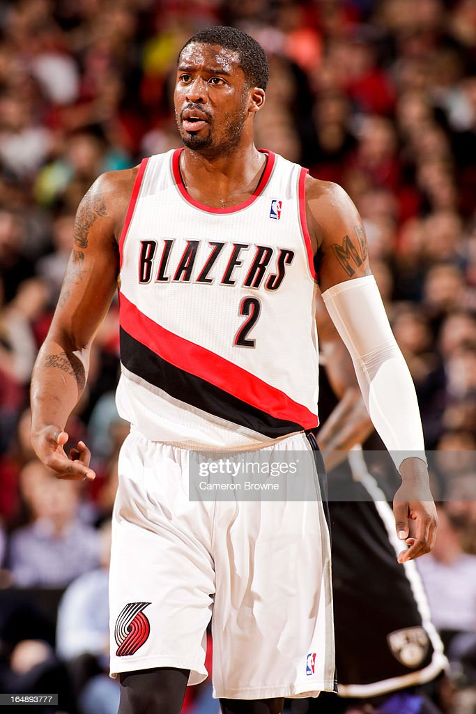 <a gi-track='captionPersonalityLinkClicked' href=/galleries/search?phrase=Wesley+Matthews&family=editorial&specificpeople=804816 ng-click='$event.stopPropagation()'>Wesley Matthews</a> #2 of the Portland Trail Blazers reacts during a game against the Brooklyn Nets on March 27, 2013 at the Rose Garden Arena in Portland, Oregon.