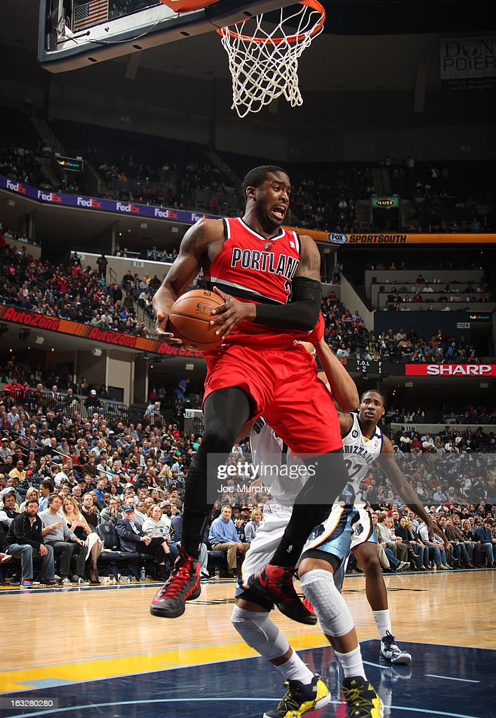 <a gi-track='captionPersonalityLinkClicked' href=/galleries/search?phrase=Wesley+Matthews&family=editorial&specificpeople=804816 ng-click='$event.stopPropagation()'>Wesley Matthews</a> #2 of the Portland Trail Blazers rebounds against the Memphis Grizzlies on March 6, 2013 at FedExForum in Memphis, Tennessee.