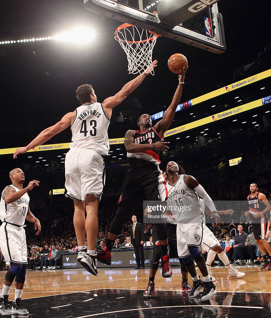 Wesley Matthews #2 of the Portland Trail Blazers scores two in the first quarter against the Brooklyn Nets at the Barclays Center on November 25, 2012 in the Brooklyn borough of New York City.