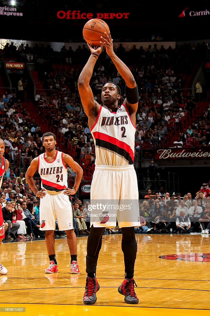 <a gi-track='captionPersonalityLinkClicked' href=/galleries/search?phrase=Wesley+Matthews&family=editorial&specificpeople=804816 ng-click='$event.stopPropagation()'>Wesley Matthews</a> #2 of the Portland Trail Blazers shoots a free-throw against the Miami Heat on February 12, 2013 at American Airlines Arena in Miami, Florida.