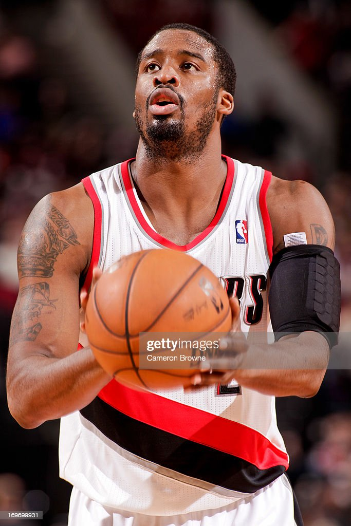 <a gi-track='captionPersonalityLinkClicked' href=/galleries/search?phrase=Wesley+Matthews+-+Basketball+Player&family=editorial&specificpeople=804816 ng-click='$event.stopPropagation()'>Wesley Matthews</a> #2 of the Portland Trail Blazers shoots a free-throw against the Milwaukee Bucks on January 19, 2013 at the Rose Garden Arena in Portland, Oregon.