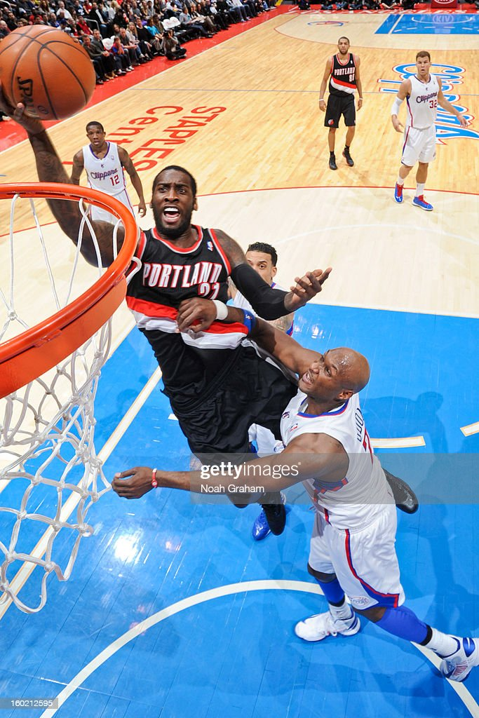 Wesley Matthews #2 of the Portland Trail Blazers shoots a layup against Lamar Odom #7 of the Los Angeles Clippers at Staples Center on January 27, 2013 in Los Angeles, California.