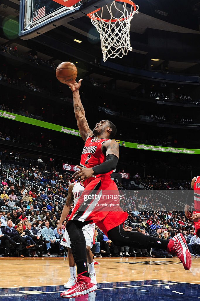 <a gi-track='captionPersonalityLinkClicked' href=/galleries/search?phrase=Wesley+Matthews&family=editorial&specificpeople=804816 ng-click='$event.stopPropagation()'>Wesley Matthews</a> #2 of the Portland Trail Blazers shoots a layup against the Atlanta Hawks on March 22, 2013 at Philips Arena in Atlanta, Georgia.