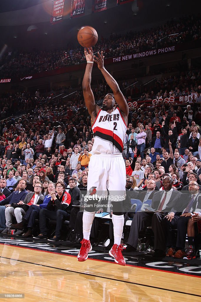 Wesley Matthews #2 of the Portland Trail Blazers shoots a three point shot against the Miami Heat on January 10, 2013 at the Rose Garden Arena in Portland, Oregon.