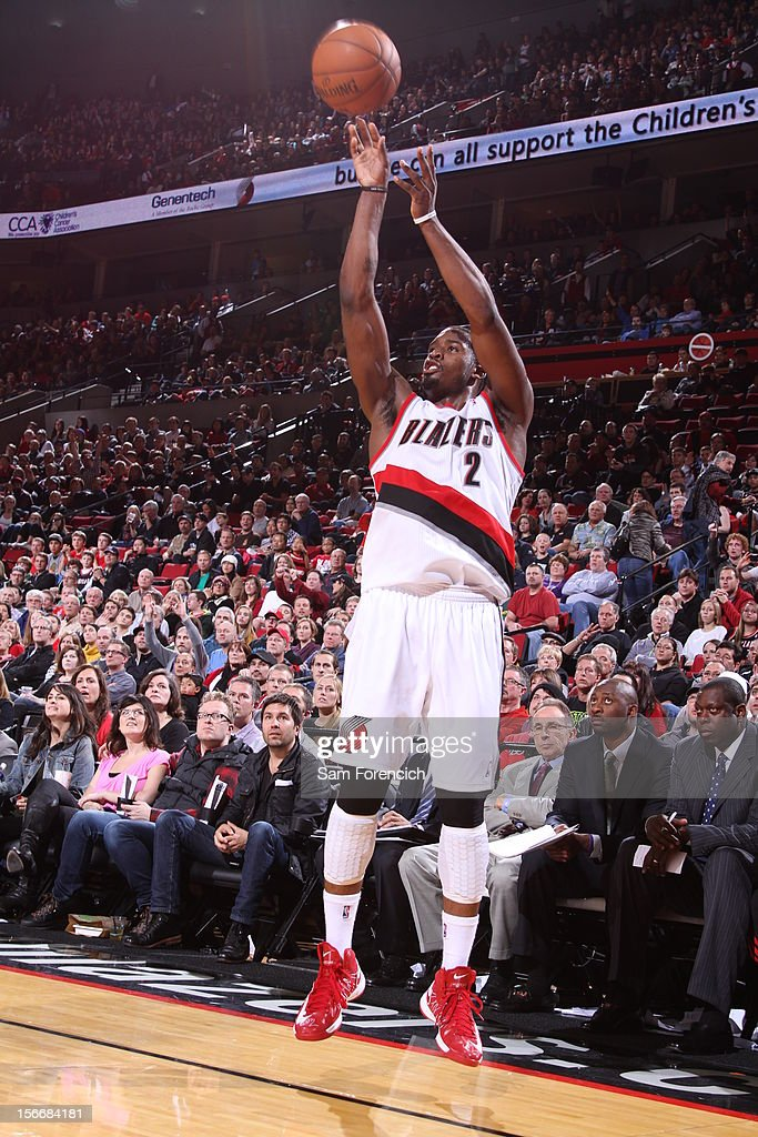 Wesley Matthews #2 of the Portland Trail Blazers shoots a three pointer against the Chicago Bulls on November 18, 2012 at the Rose Garden Arena in Portland, Oregon.