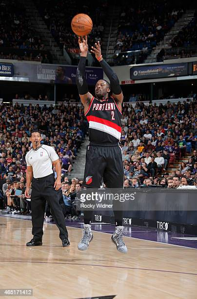 Wesley Matthews of the Portland Trail Blazers shoots a three pointer against the Sacramento Kings on March 1 2015 at Sleep Train Arena in Sacramento...
