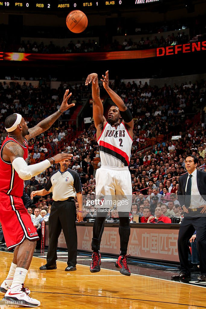 <a gi-track='captionPersonalityLinkClicked' href=/galleries/search?phrase=Wesley+Matthews+-+Basketball+Player&family=editorial&specificpeople=804816 ng-click='$event.stopPropagation()'>Wesley Matthews</a> #2 of the Portland Trail Blazers shoots a three-pointer against <a gi-track='captionPersonalityLinkClicked' href=/galleries/search?phrase=LeBron+James&family=editorial&specificpeople=201474 ng-click='$event.stopPropagation()'>LeBron James</a> #6 of the Miami Heat on February 12, 2013 at American Airlines Arena in Miami, Florida.