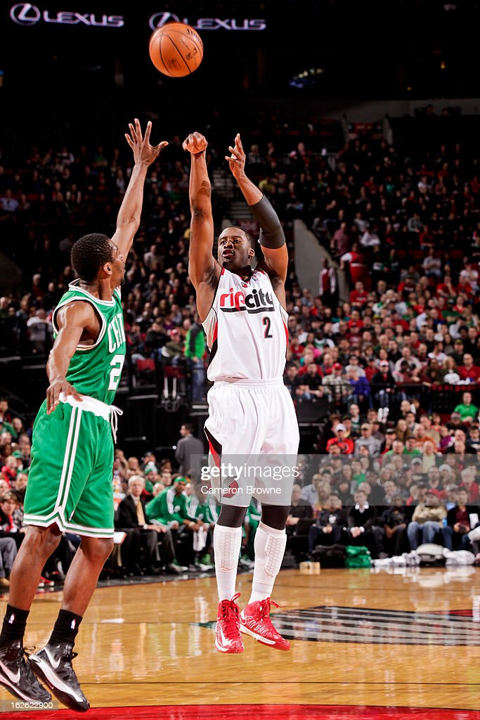Wesley Matthews #2 of the Portland Trail Blazers shoots a three-pointer against Jordan Crawford #27 of the Boston Celtics on February 24, 2013 at the Rose Garden Arena in Portland, Oregon.