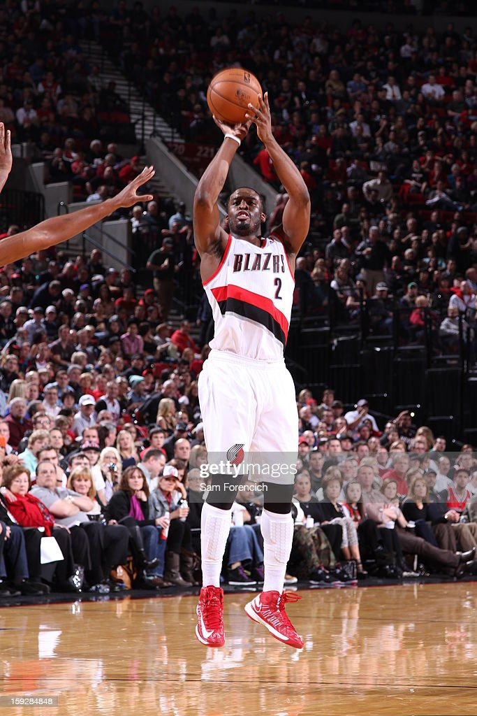 Wesley Matthews #2 of the Portland Trail Blazers shoots a wide-open shot against the Miami Heat on January 10, 2013 at the Rose Garden Arena in Portland, Oregon.