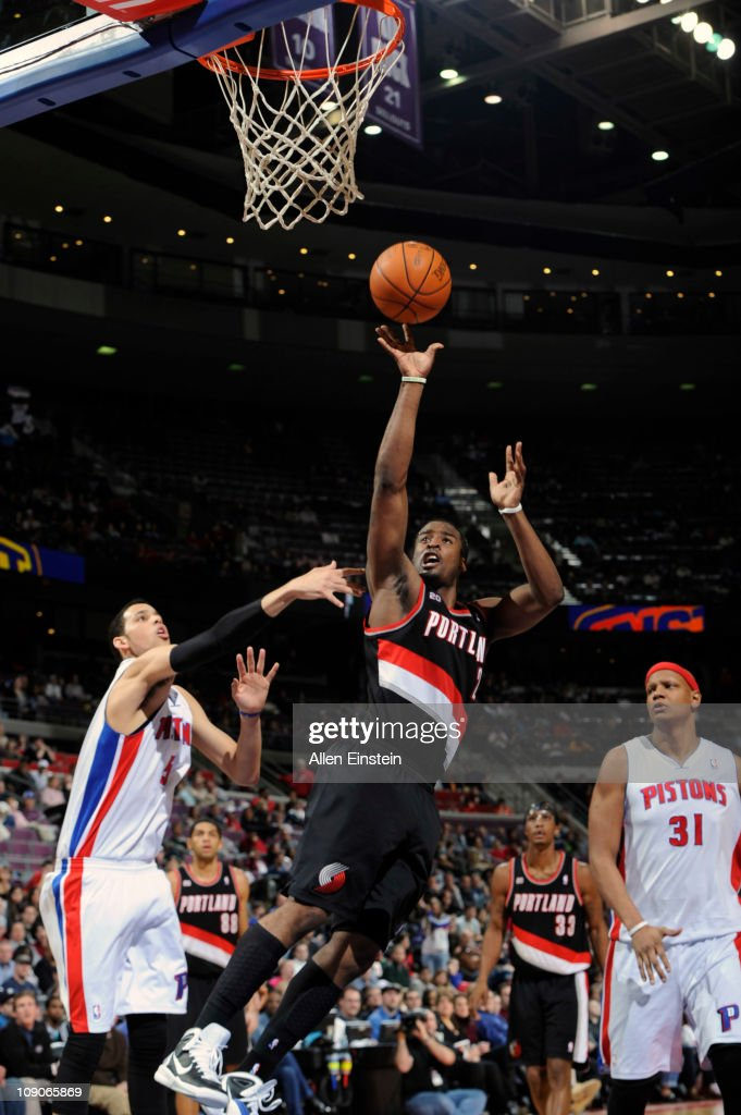 <a gi-track='captionPersonalityLinkClicked' href=/galleries/search?phrase=Wesley+Matthews+-+Basketball+Player&family=editorial&specificpeople=804816 ng-click='$event.stopPropagation()'>Wesley Matthews</a> #2 of the Portland Trail Blazers shoots against the Detroit Pistons on February 13, 2011 at The Palace of Auburn Hills in Auburn Hills, Michigan.