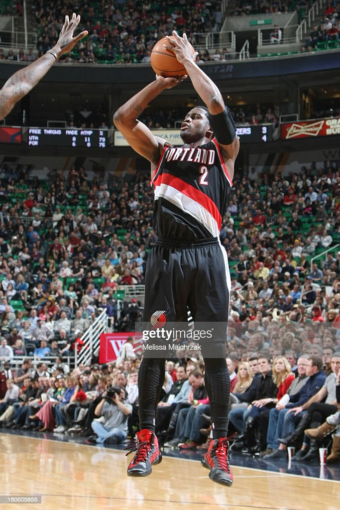 <a gi-track='captionPersonalityLinkClicked' href=/galleries/search?phrase=Wesley+Matthews&family=editorial&specificpeople=804816 ng-click='$event.stopPropagation()'>Wesley Matthews</a> #2 of the Portland Trail Blazers shoots against the Utah Jazz at Energy Solutions Arena on February 01, 2013 in Salt Lake City, Utah.