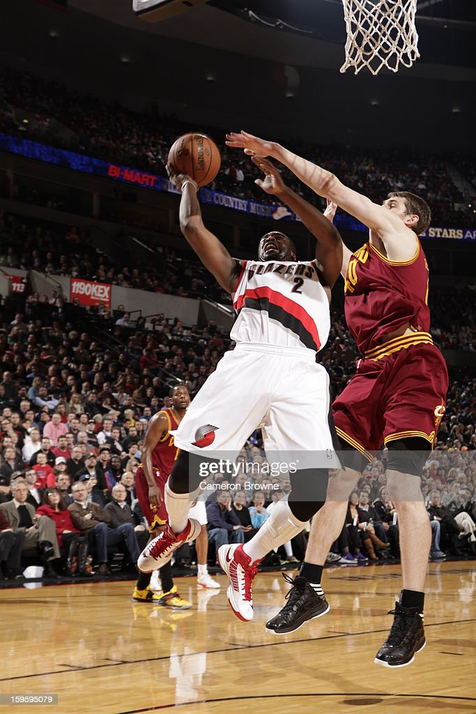 Wesley Matthews #2 of the Portland Trail Blazers shoots against Tyler Zeller #40 of the Cleveland Cavaliers on January 16, 2013 at the Rose Garden Arena in Portland, Oregon.