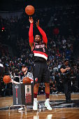 Wesley Matthews of the Portland Trail Blazers shoots during the Foot Locker Three Point Contest on State Farm AllStar Saturday Night as part of the...