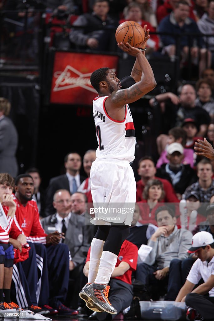 <a gi-track='captionPersonalityLinkClicked' href=/galleries/search?phrase=Wesley+Matthews&family=editorial&specificpeople=804816 ng-click='$event.stopPropagation()'>Wesley Matthews</a> #2 of the Portland Trail Blazers shoots the ball against the Washington Wizards on January 21, 2013 at the Rose Garden Arena in Portland, Oregon.