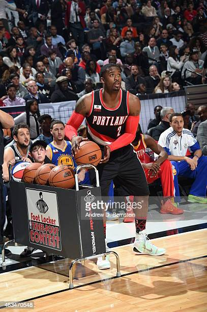 Wesley Matthews of the Portland Trail Blazers shoots the ball during the Foot Locker Three Point Contest on State Farm AllStar Saturday Night as part...